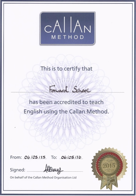 Callan Method Certificate of Forward School Kazakhstan